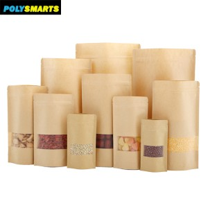 Wholesale 20x30+5CM Standup Pouches Kraft Paper Plastic Packaging With Zipper/