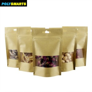 Low MOQ 18x26+4CM Resealable Ziplock Brown Kraft Paper Standing Up Pouches Food Packaging Zipper Bags With Clear Window