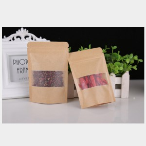 Retail 100pcs 15x22+4CM Recycled Waterproof Washable Stand up Kraft Paper Pouch Bag