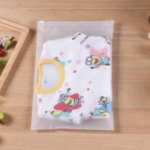 Eco-friendly Customized Frosted Plastic Slider Zipper Flat Matt Plastic Bag