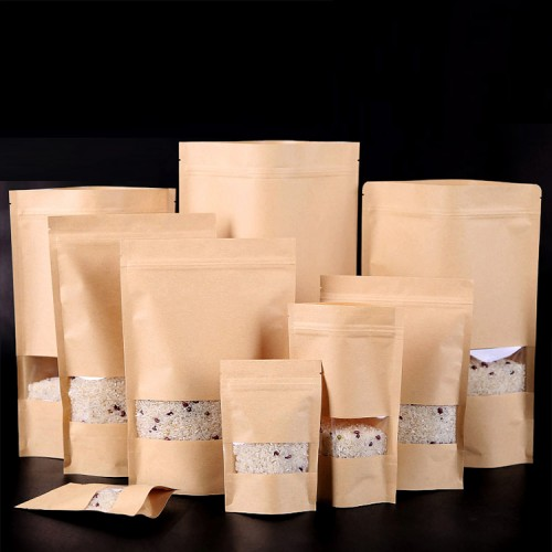 Reclosable Zipper Craft Paper Food Packaging Bags, Stand Up Pouch With Clear Rectangle Window In Retail