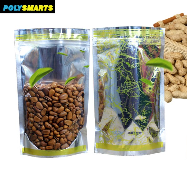 Natural Kraft Stand up Pouches with Window and Zip Lock Food Storage Bag Pack of 100 (7.87