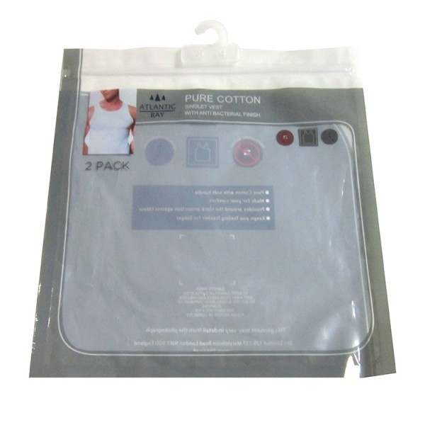 LDPE Custom Clear Clip Close Handle Plastic Hook Garment Bags