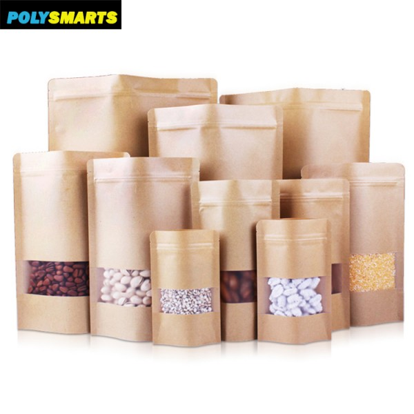MOQ Only 100pcs 18x26+4CM Natural Waterproof Stand-up Kraft Paper Bag Pouch